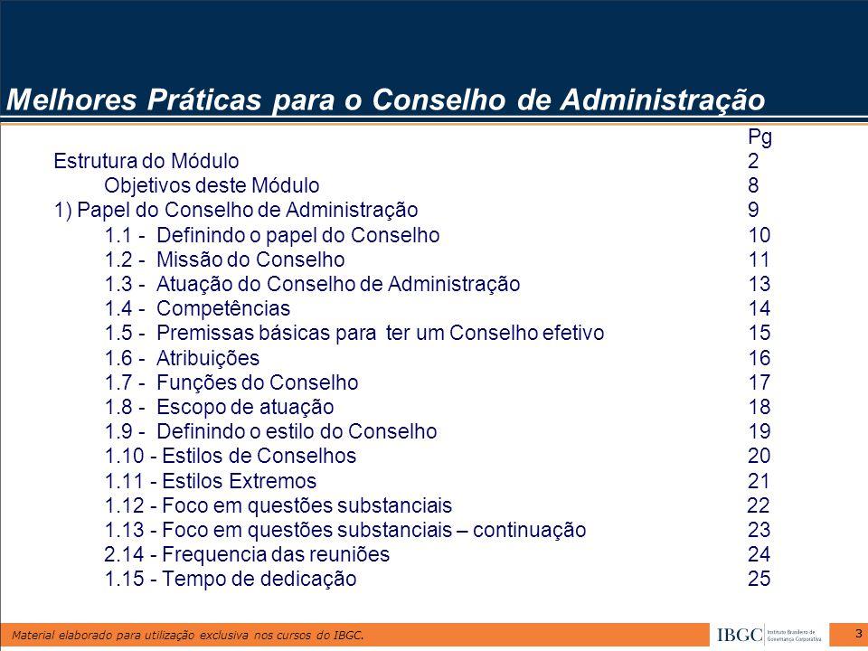 Material elaborado para utilização exclusiva nos cursos do IBGC. 33 Pg Estrutura do Módulo2 Objetivos deste Módulo8 1) Papel do Conselho de Administra