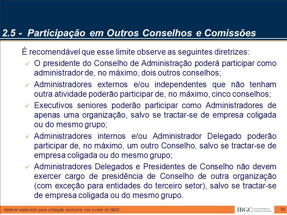 Material elaborado para utilização exclusiva nos cursos do IBGC. 31 2.5 - Participação em Outros Conselhos e Comissões É recomendável que esse limite