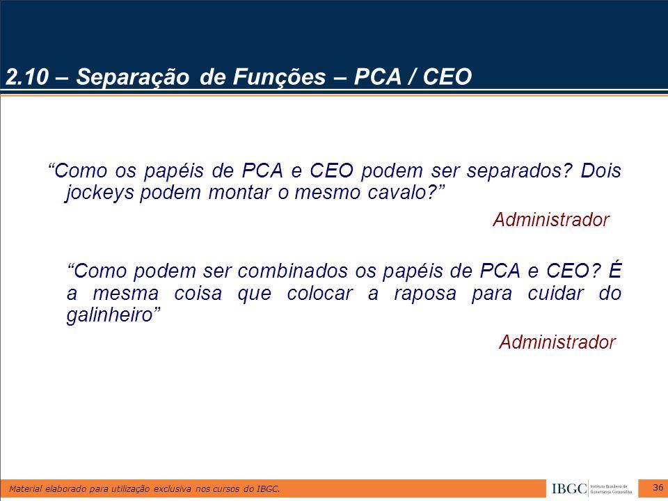 """Material elaborado para utilização exclusiva nos cursos do IBGC. 36 2.10 – Separação de Funções – PCA / CEO """"Como os papéis de PCA e CEO podem ser sep"""