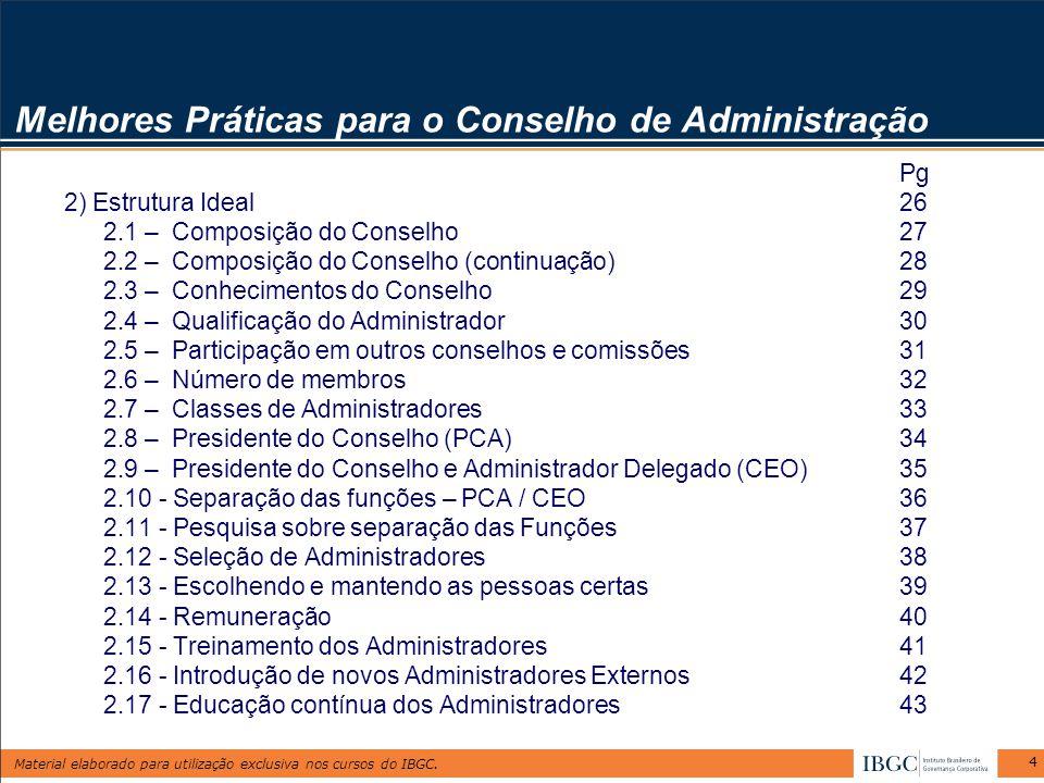Material elaborado para utilização exclusiva nos cursos do IBGC. 4 Melhores Práticas para o Conselho de Administração Pg 2) Estrutura Ideal26 2.1 – Co