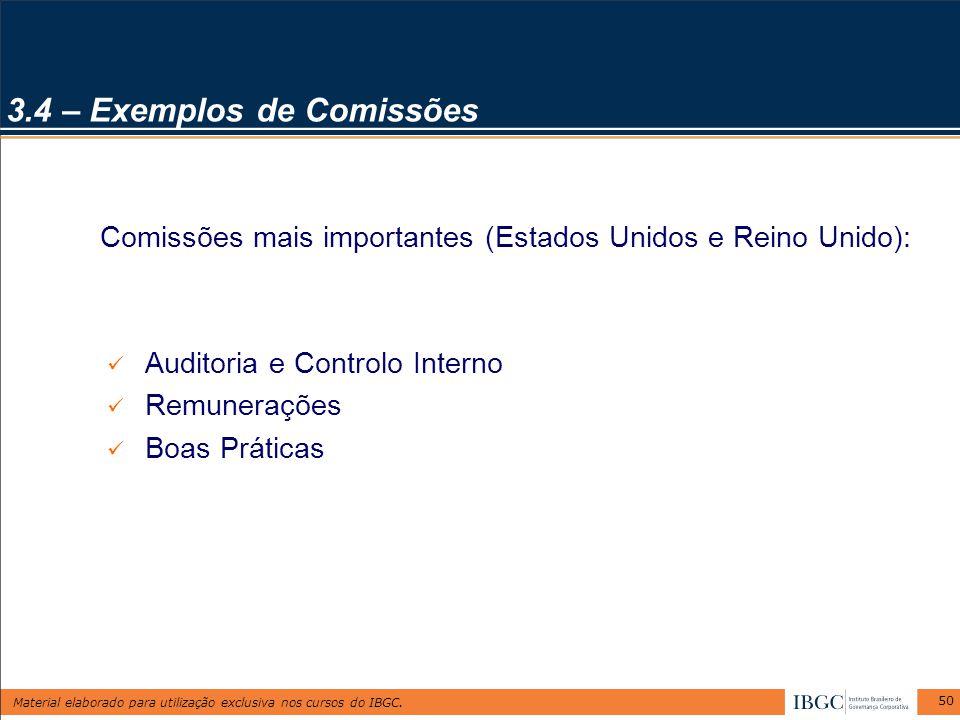 Material elaborado para utilização exclusiva nos cursos do IBGC. 50 Comissões mais importantes (Estados Unidos e Reino Unido): Auditoria e Controlo In