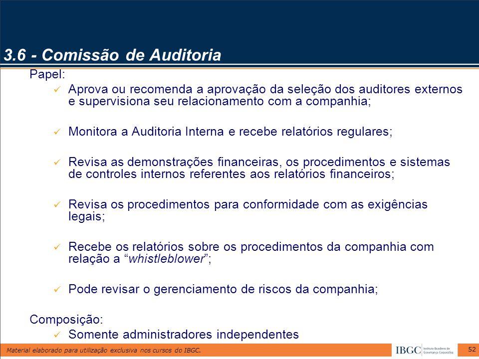 Material elaborado para utilização exclusiva nos cursos do IBGC. 52 3.6 - Comissão de Auditoria Papel: Aprova ou recomenda a aprovação da seleção dos