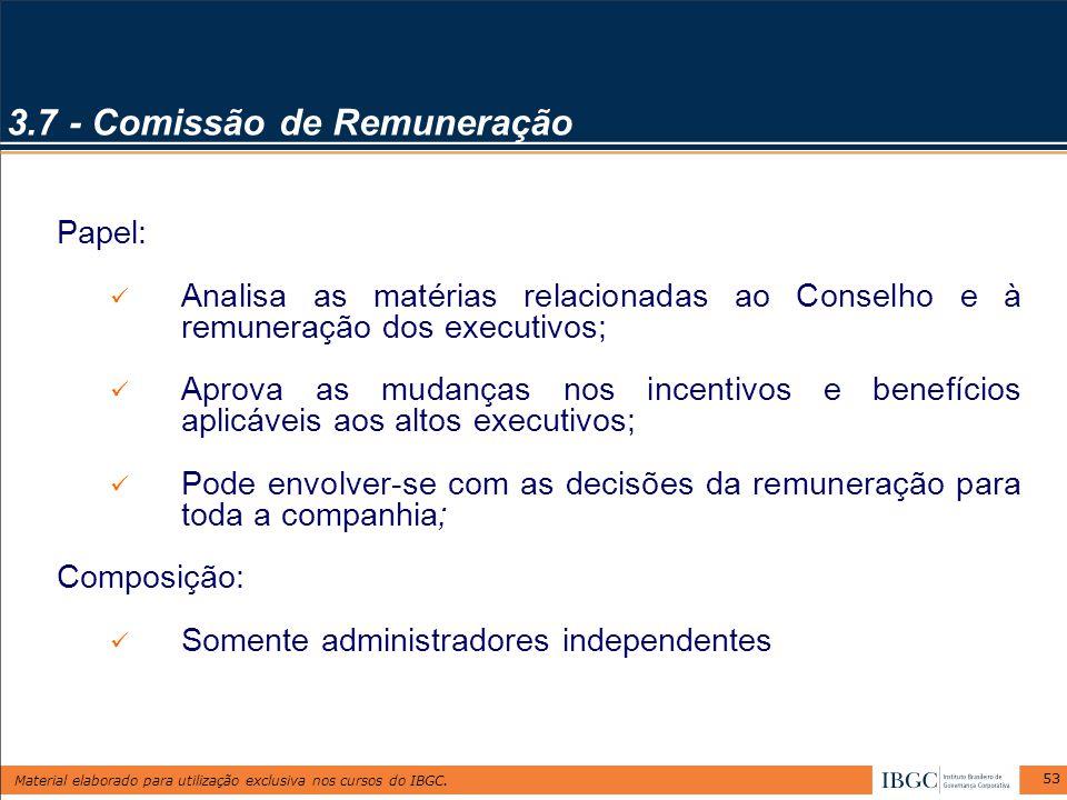 Material elaborado para utilização exclusiva nos cursos do IBGC. 53 3.7 - Comissão de Remuneração Papel: Analisa as matérias relacionadas ao Conselho