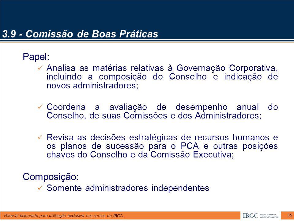 Material elaborado para utilização exclusiva nos cursos do IBGC. 55 3.9 - Comissão de Boas Práticas Papel: Analisa as matérias relativas à Governação