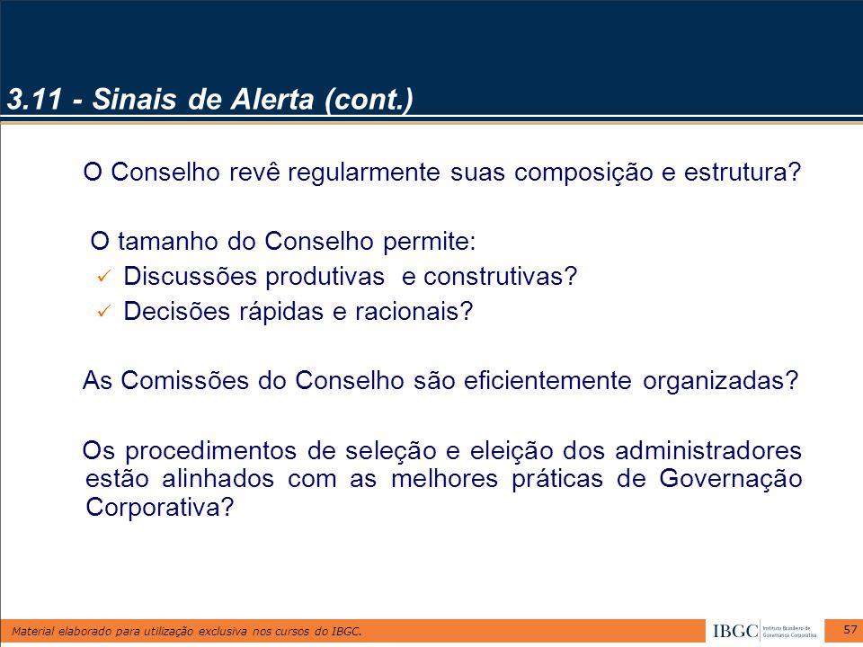 Material elaborado para utilização exclusiva nos cursos do IBGC. 57 3.11 - Sinais de Alerta (cont.) O Conselho revê regularmente suas composição e est