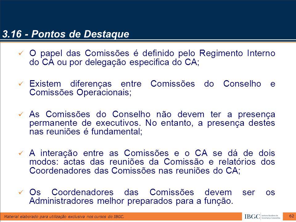 Material elaborado para utilização exclusiva nos cursos do IBGC. 62 3.16 - Pontos de Destaque O papel das Comissões é definido pelo Regimento Interno
