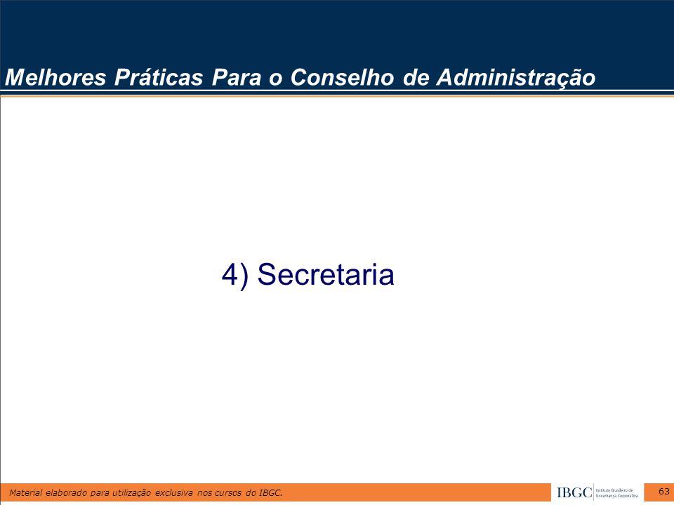 Material elaborado para utilização exclusiva nos cursos do IBGC. 63 Melhores Práticas Para o Conselho de Administração 4) Secretaria