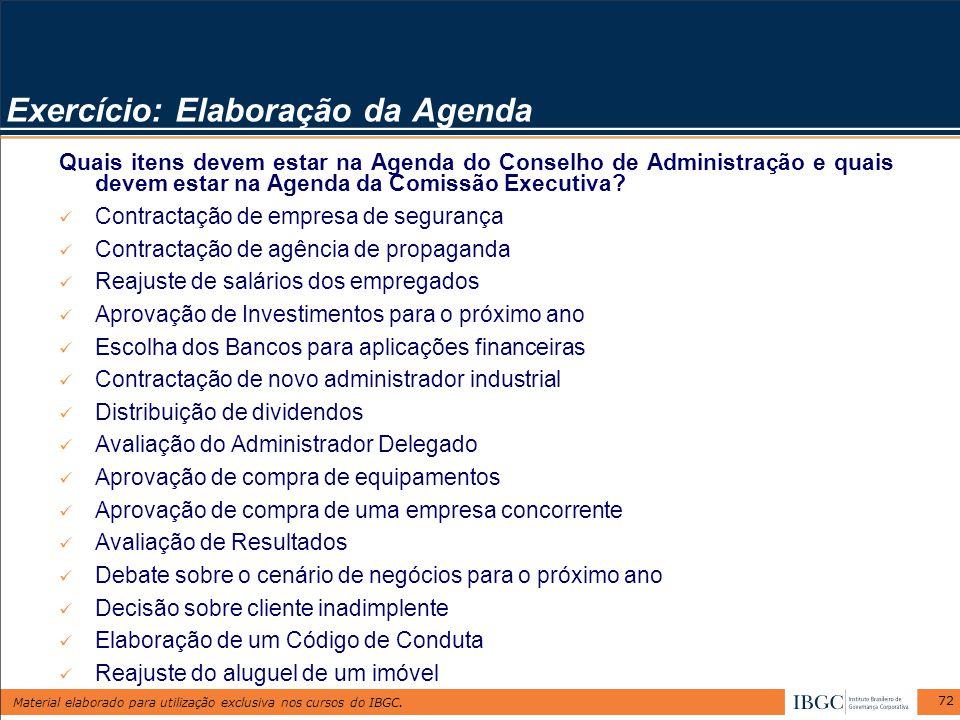 Material elaborado para utilização exclusiva nos cursos do IBGC. 72 Exercício: Elaboração da Agenda Quais itens devem estar na Agenda do Conselho de A