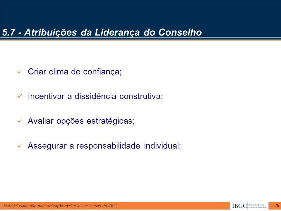 Material elaborado para utilização exclusiva nos cursos do IBGC. 78 5.7 - Atribuições da Liderança do Conselho Criar clima de confiança; Incentivar a