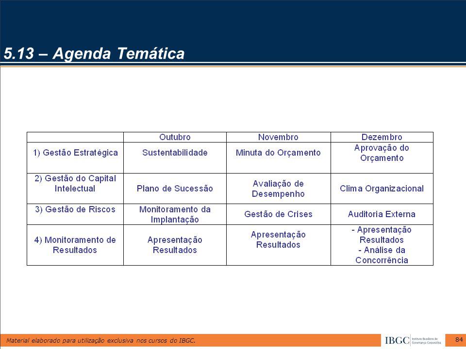 Material elaborado para utilização exclusiva nos cursos do IBGC. 84 5.13 – Agenda Temática