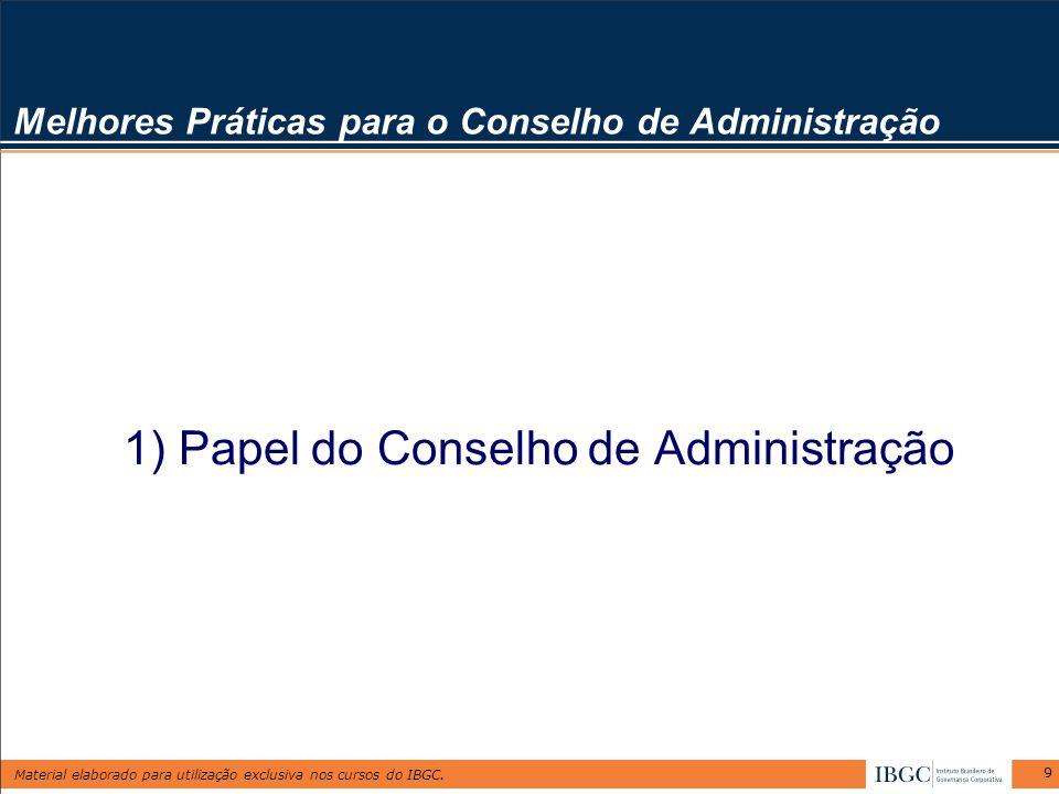 Material elaborado para utilização exclusiva nos cursos do IBGC. 9 Melhores Práticas para o Conselho de Administração 1) Papel do Conselho de Administ
