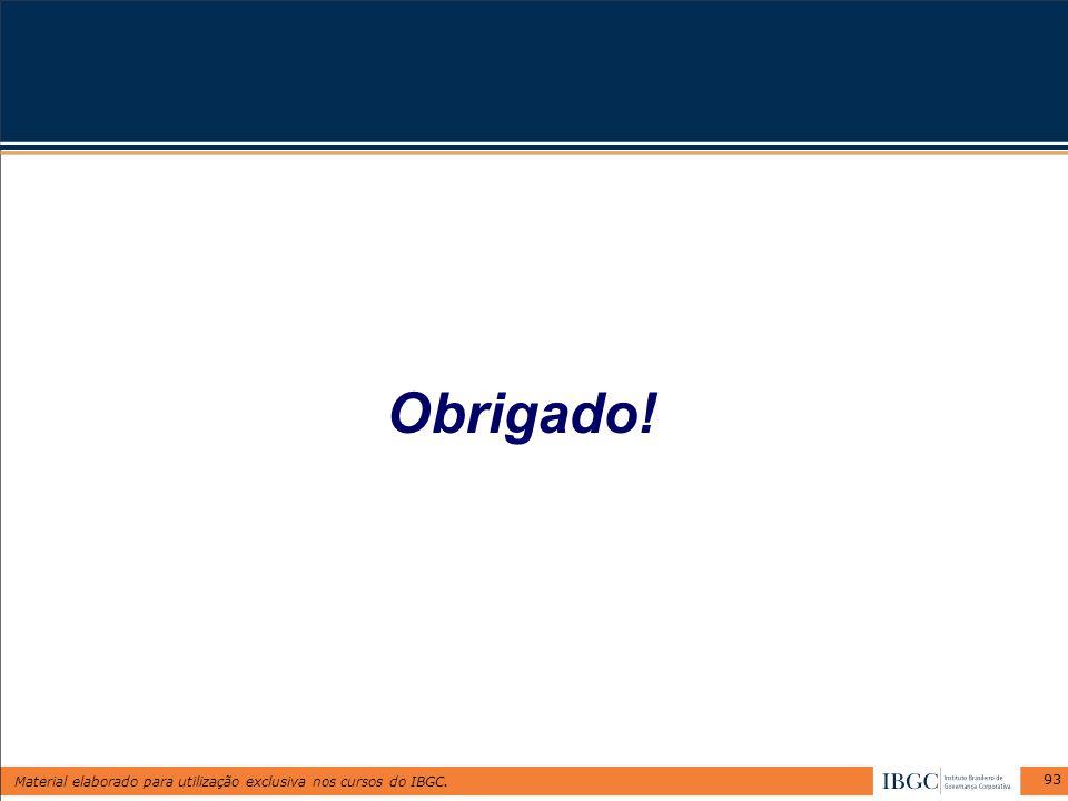 Material elaborado para utilização exclusiva nos cursos do IBGC. 93 Obrigado!