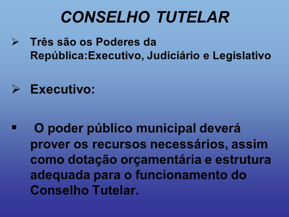 CONSELHO TUTELAR  Três são os Poderes da República:Executivo, Judiciário e Legislativo  Executivo:  O poder público municipal deverá prover os recu