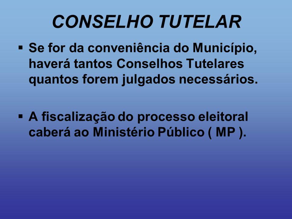 CONSELHO TUTELAR  Se for da conveniência do Município, haverá tantos Conselhos Tutelares quantos forem julgados necessários.  A fiscalização do proc