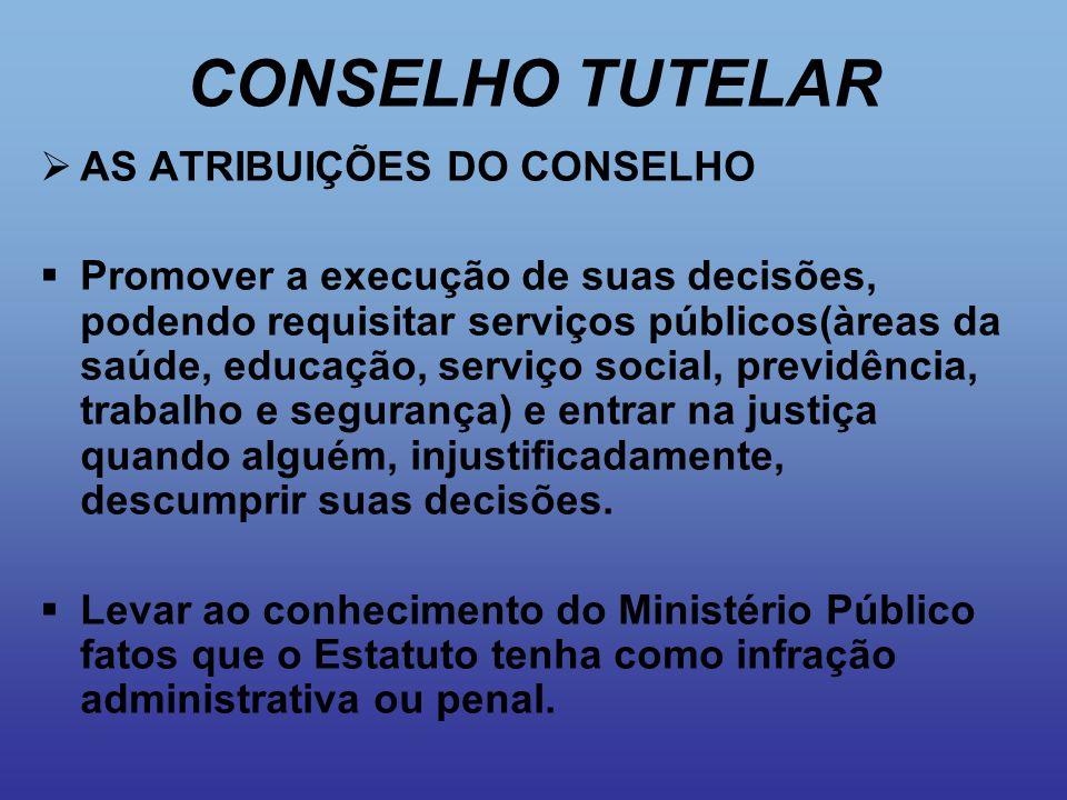 CONSELHO TUTELAR  AS ATRIBUIÇÕES DO CONSELHO  Promover a execução de suas decisões, podendo requisitar serviços públicos(àreas da saúde, educação, s