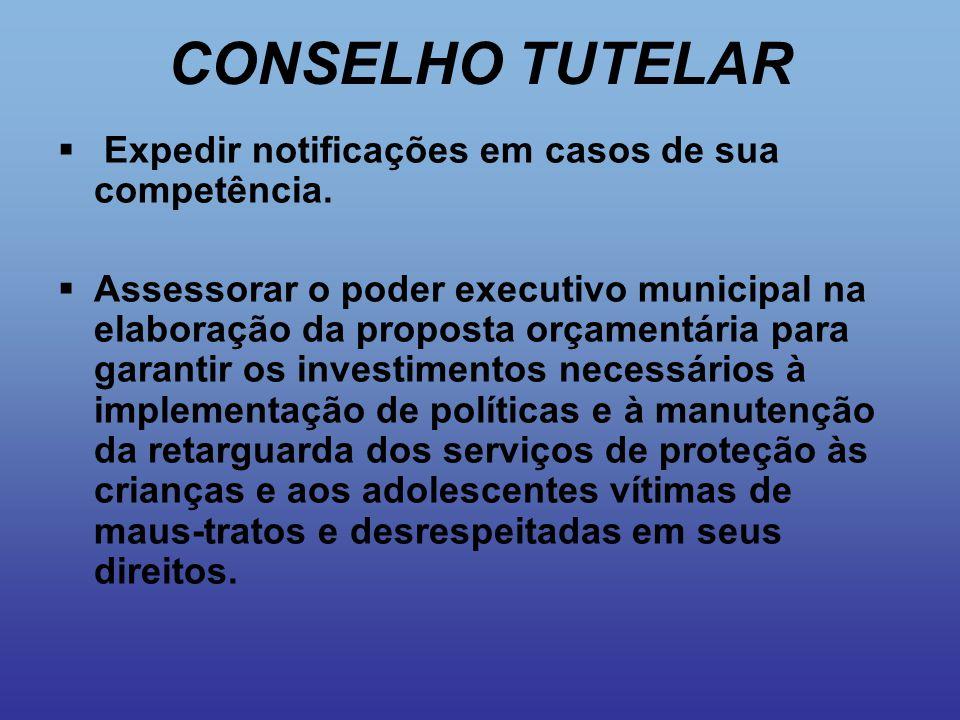 CONSELHO TUTELAR  Expedir notificações em casos de sua competência.  Assessorar o poder executivo municipal na elaboração da proposta orçamentária p