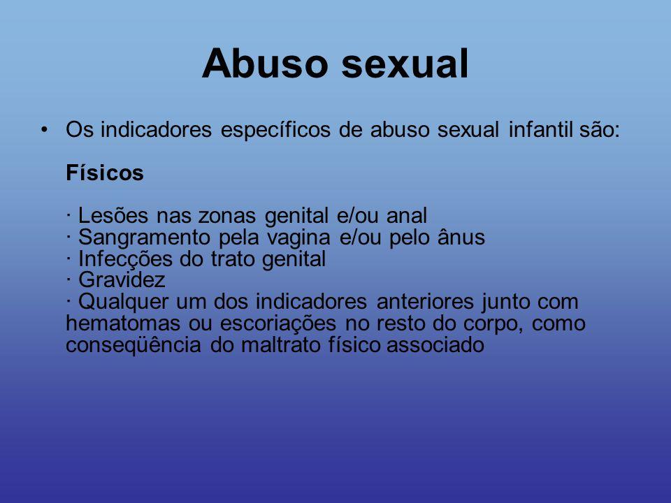 Abuso sexual Os indicadores específicos de abuso sexual infantil são: Físicos · Lesões nas zonas genital e/ou anal · Sangramento pela vagina e/ou pelo