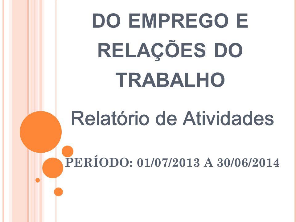 C ONSELHO M UNICIPAL DO EMPREGO E RELAÇÕES DO TRABALHO Relatório de Atividades PERÍODO: 01/07/2013 A 30/06/2014