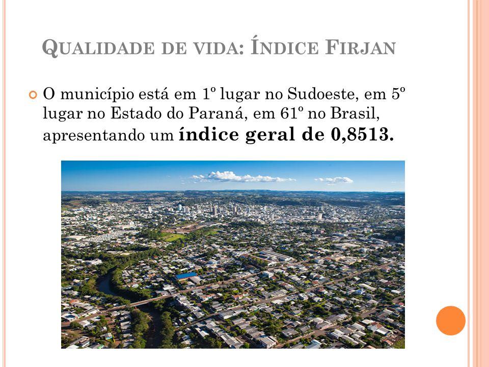 Q UALIDADE DE VIDA : Í NDICE F IRJAN O município está em 1º lugar no Sudoeste, em 5º lugar no Estado do Paraná, em 61º no Brasil, apresentando um índi