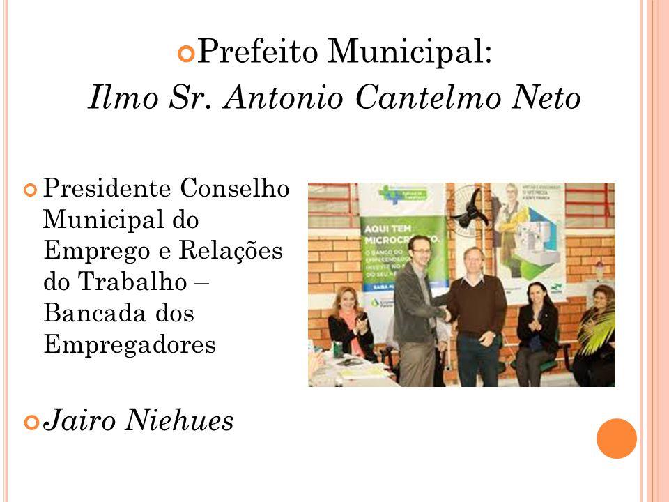 Prefeito Municipal: Ilmo Sr. Antonio Cantelmo Neto Presidente Conselho Municipal do Emprego e Relações do Trabalho – Bancada dos Empregadores Jairo Ni