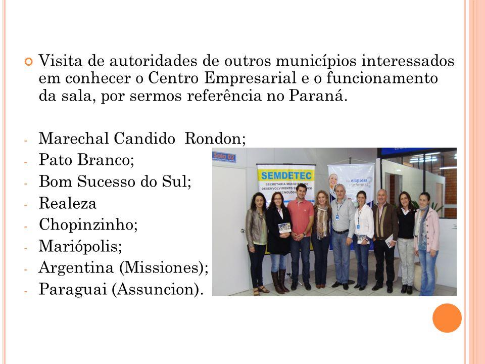 Visita de autoridades de outros municípios interessados em conhecer o Centro Empresarial e o funcionamento da sala, por sermos referência no Paraná. -