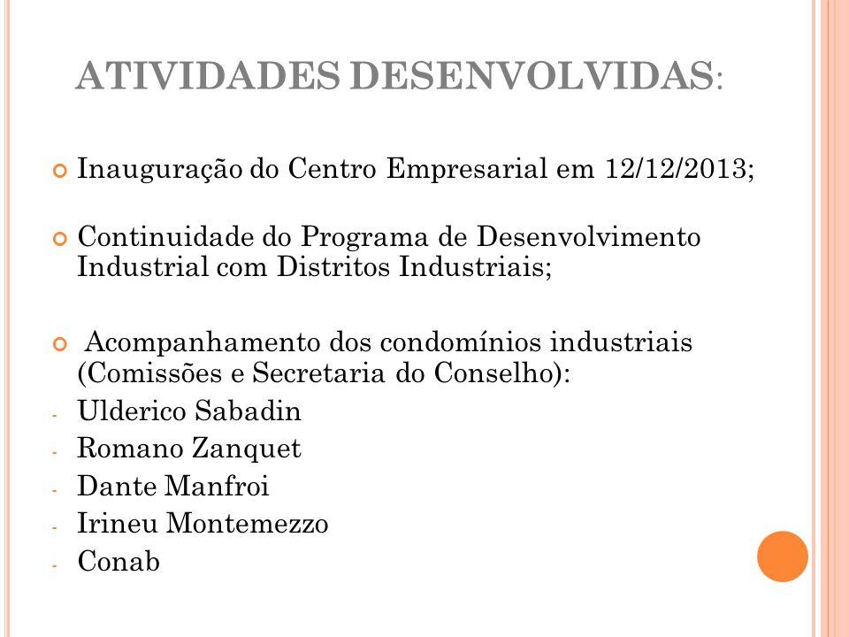 ATIVIDADES DESENVOLVIDAS : Inauguração do Centro Empresarial em 12/12/2013; Continuidade do Programa de Desenvolvimento Industrial com Distritos Indus