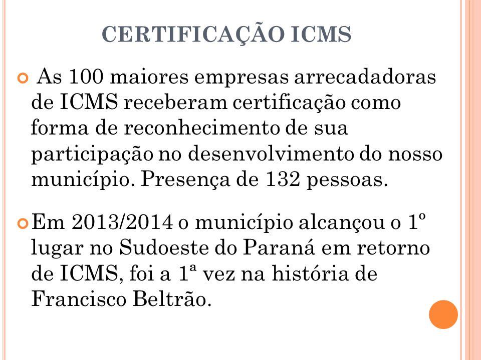 CERTIFICAÇÃO ICMS As 100 maiores empresas arrecadadoras de ICMS receberam certificação como forma de reconhecimento de sua participação no desenvolvim