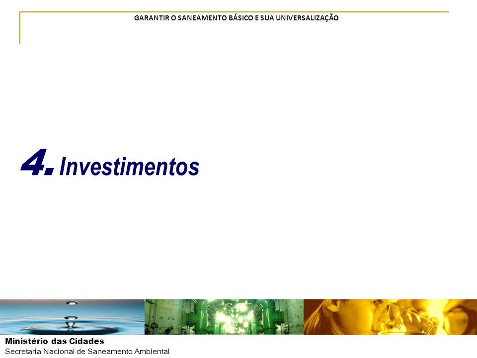 Ministério das Cidades Secretaria Nacional de Saneamento Ambiental GARANTIR O SANEAMENTO BÁSICO E SUA UNIVERSALIZAÇÃO 4. Investimentos