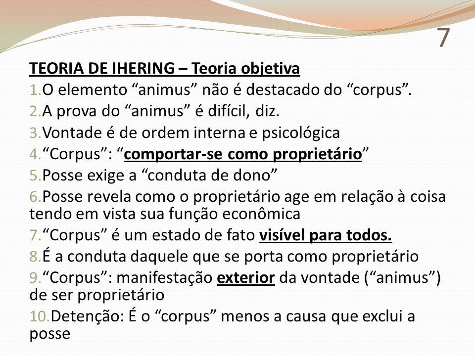 """7 TEORIA DE IHERING – Teoria objetiva 1. O elemento """"animus"""" não é destacado do """"corpus"""". 2. A prova do """"animus"""" é difícil, diz. 3. Vontade é de ordem"""