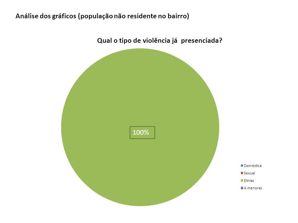 100% Análise dos gráficos (população não residente no bairro)