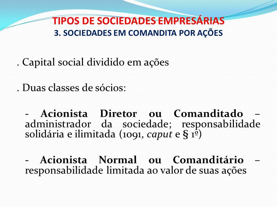 TIPOS DE SOCIEDADES EMPRESÁRIAS 3. SOCIEDADES EM COMANDITA POR AÇÕES. Capital social dividido em ações. Duas classes de sócios: - Acionista Diretor ou