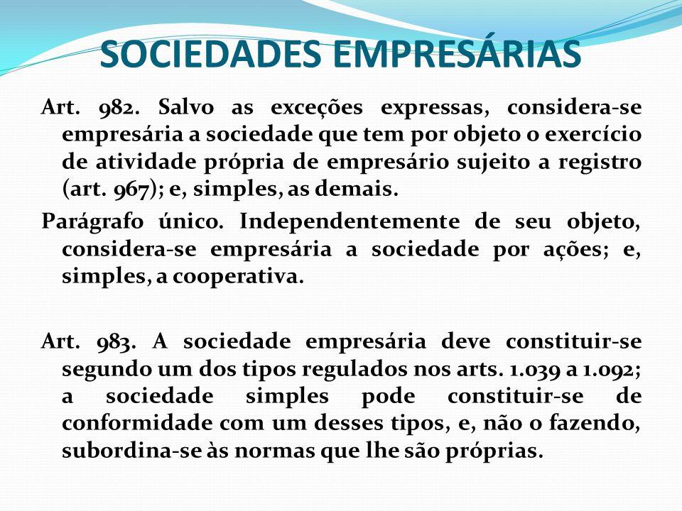 SOCIEDADES EMPRESÁRIAS Art. 982. Salvo as exceções expressas, considera-se empresária a sociedade que tem por objeto o exercício de atividade própria