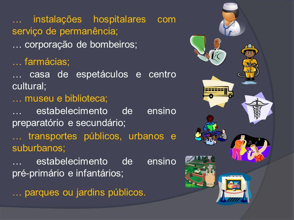 … instalações hospitalares com serviço de permanência; … farmácias; … corporação de bombeiros; … casa de espetáculos e centro cultural; … museu e bibl