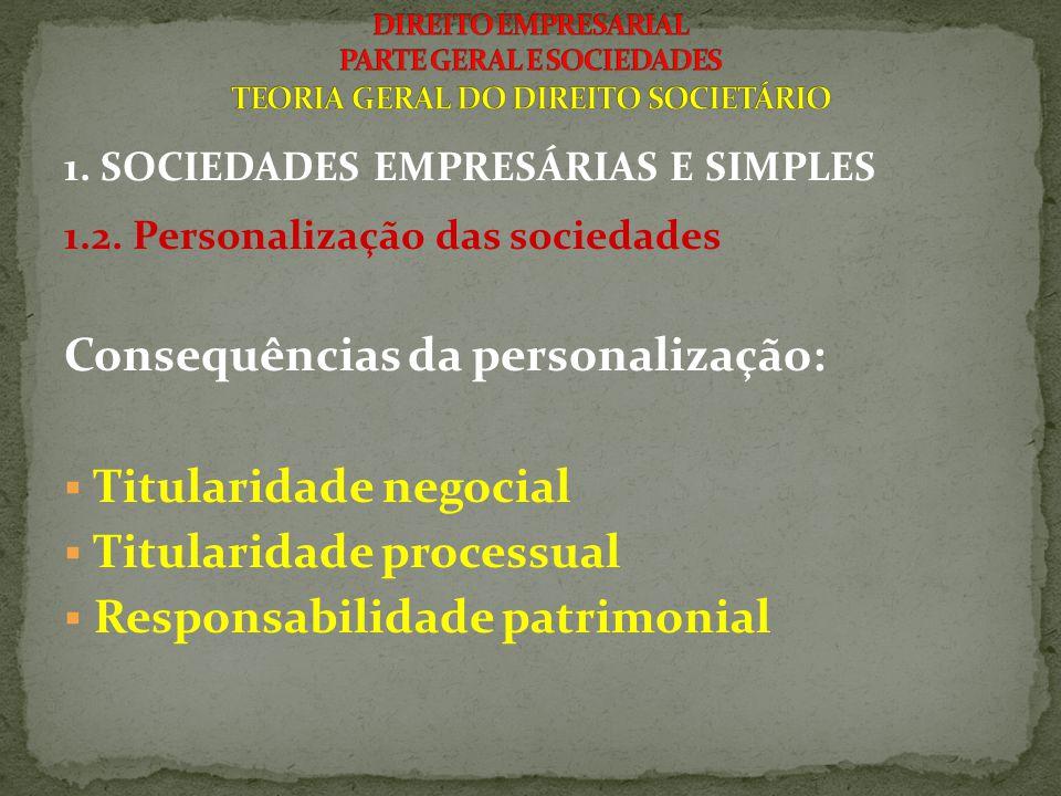 1. SOCIEDADES EMPRESÁRIAS E SIMPLES 1.2. Personalização das sociedades Consequências da personalização:  Titularidade negocial  Titularidade process
