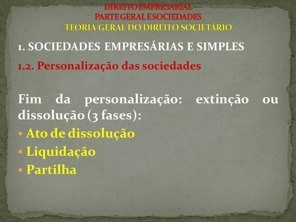 1. SOCIEDADES EMPRESÁRIAS E SIMPLES 1.2. Personalização das sociedades Fim da personalização: extinção ou dissolução (3 fases):  Ato de dissolução 