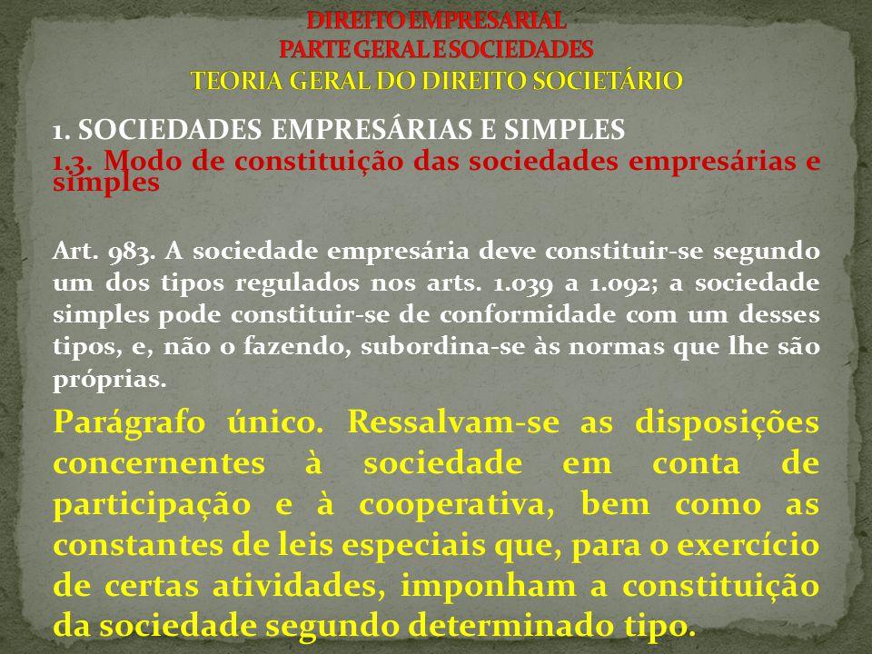 1. SOCIEDADES EMPRESÁRIAS E SIMPLES 1.3. Modo de constituição das sociedades empresárias e simples Art. 983. A sociedade empresária deve constituir-se