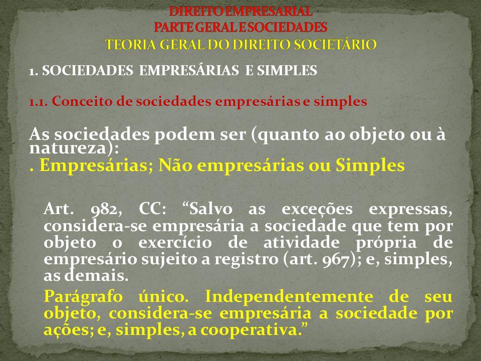 1. SOCIEDADES EMPRESÁRIAS E SIMPLES 1.1. Conceito de sociedades empresárias e simples As sociedades podem ser (quanto ao objeto ou à natureza):. Empre