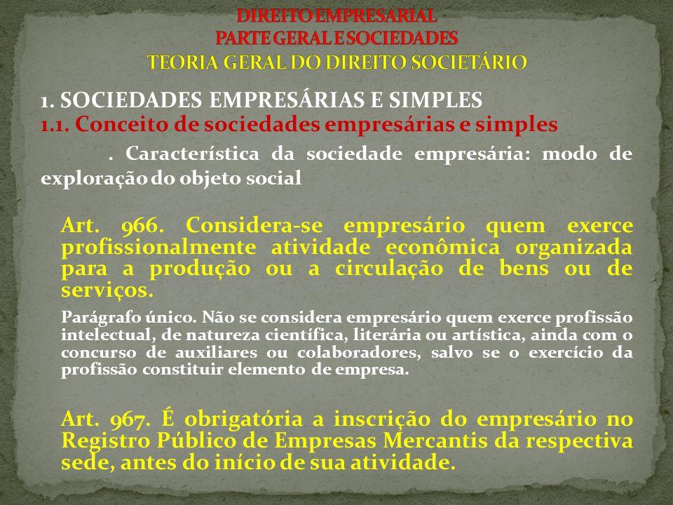 1. SOCIEDADES EMPRESÁRIAS E SIMPLES 1.1. Conceito de sociedades empresárias e simples. Característica da sociedade empresária: modo de exploração do o