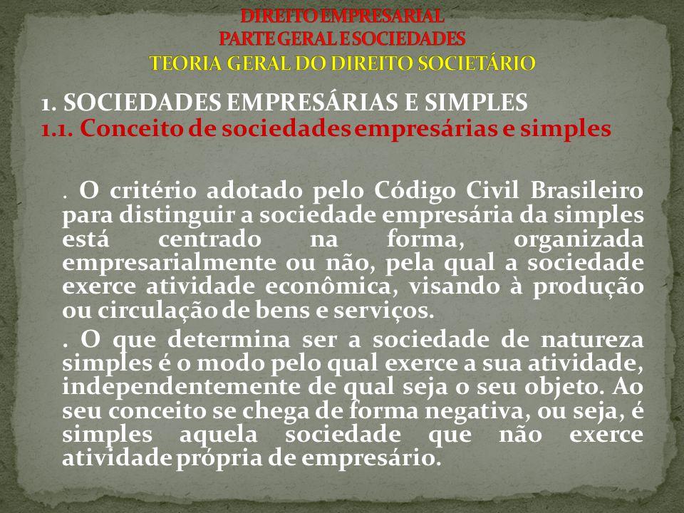 1. SOCIEDADES EMPRESÁRIAS E SIMPLES 1.1. Conceito de sociedades empresárias e simples. O critério adotado pelo Código Civil Brasileiro para distinguir