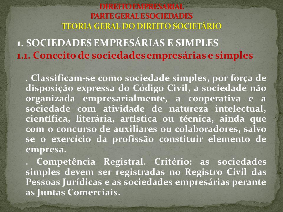 1. SOCIEDADES EMPRESÁRIAS E SIMPLES 1.1. Conceito de sociedades empresárias e simples. Classificam-se como sociedade simples, por força de disposição