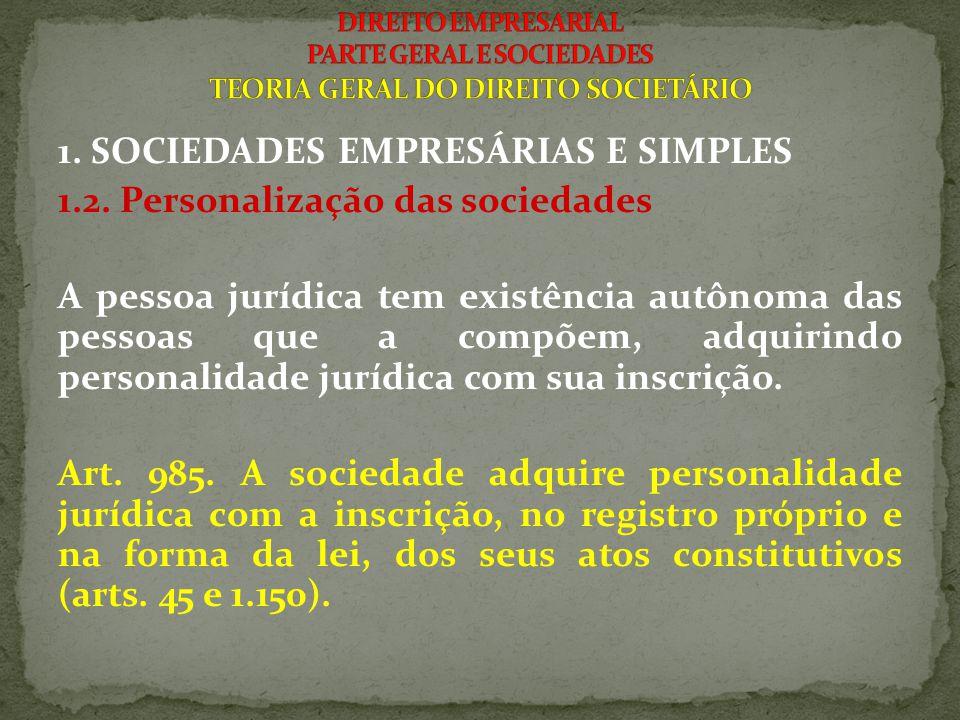 1. SOCIEDADES EMPRESÁRIAS E SIMPLES 1.2. Personalização das sociedades A pessoa jurídica tem existência autônoma das pessoas que a compõem, adquirindo