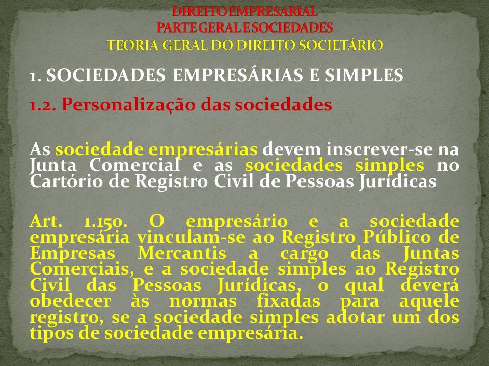 1. SOCIEDADES EMPRESÁRIAS E SIMPLES 1.2. Personalização das sociedades As sociedade empresárias devem inscrever-se na Junta Comercial e as sociedades