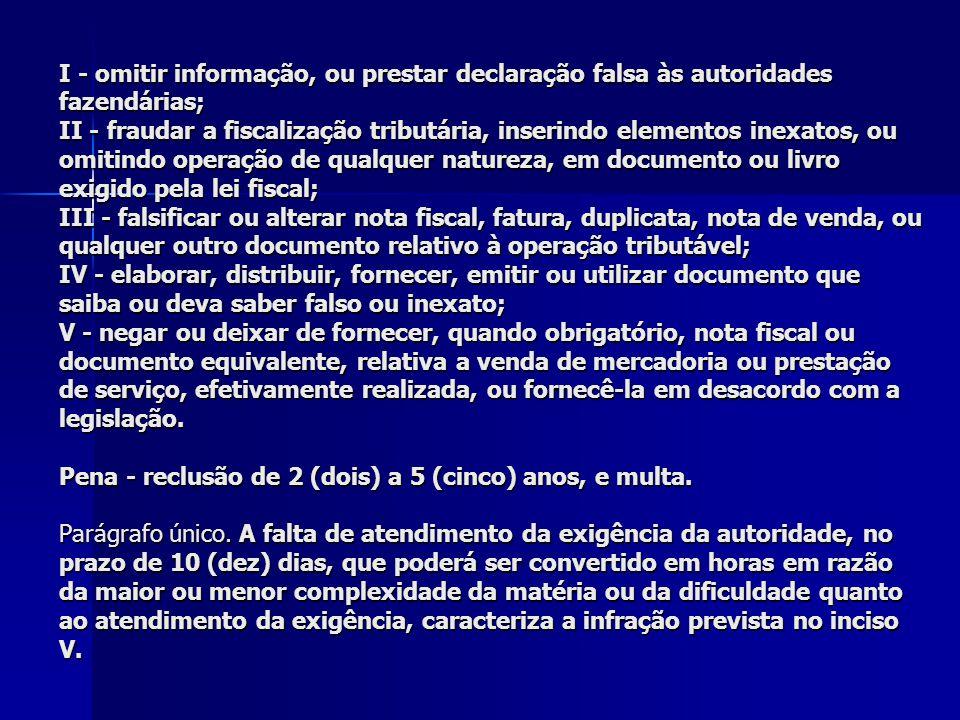 I - omitir informação, ou prestar declaração falsa às autoridades fazendárias; II - fraudar a fiscalização tributária, inserindo elementos inexatos, o