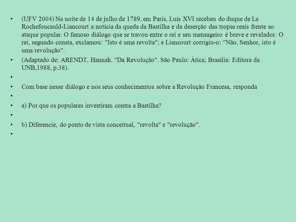 (UFV 2004) Na noite de 14 de julho de 1789, em Paris, Luís XVI recebeu do duque de La Rochefoucauld-Liancourt a notícia da queda da Bastilha e da dese