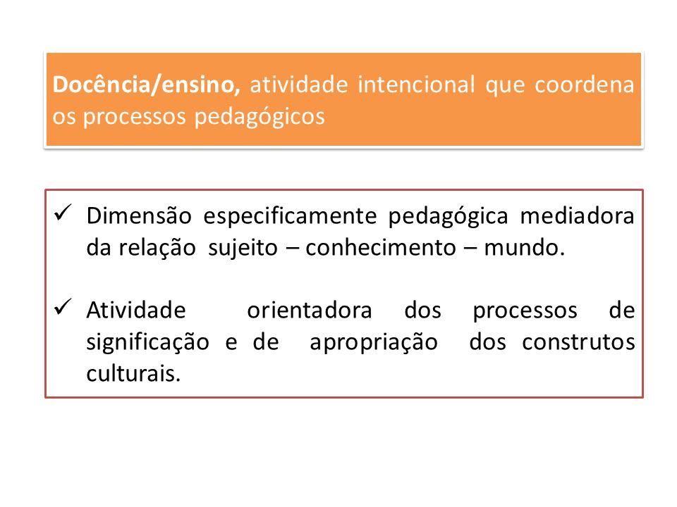 Docência/ensino, atividade intencional que coordena os processos pedagógicos Dimensão especificamente pedagógica mediadora da relação sujeito – conhec