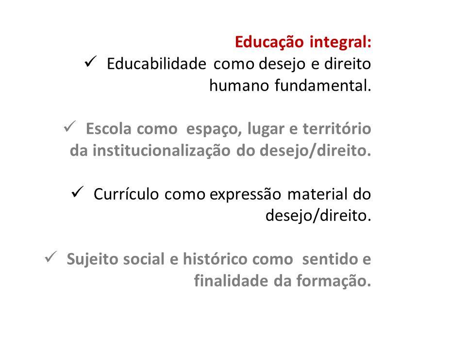Educação integral: Educabilidade como desejo e direito humano fundamental. Escola como espaço, lugar e território da institucionalização do desejo/dir