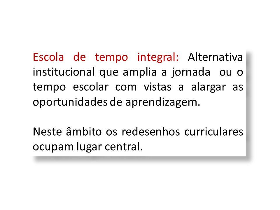 Escola de tempo integral: Alternativa institucional que amplia a jornada ou o tempo escolar com vistas a alargar as oportunidades de aprendizagem. Nes