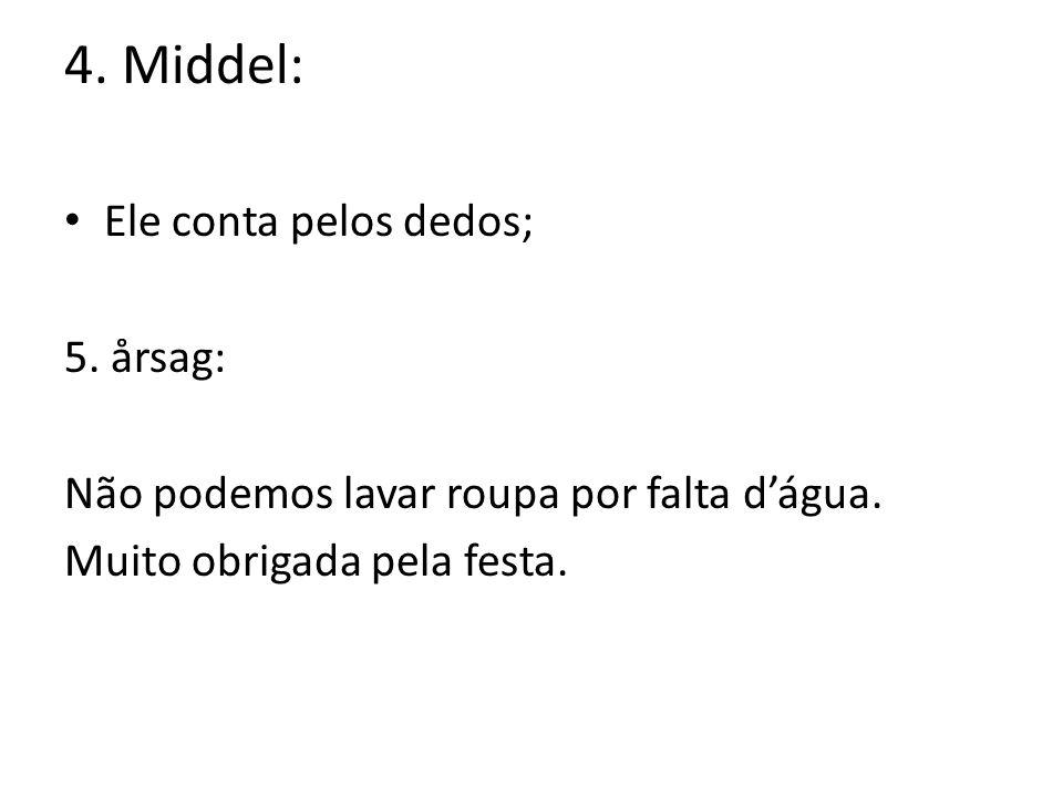 4. Middel: Ele conta pelos dedos; 5. årsag: Não podemos lavar roupa por falta d'água. Muito obrigada pela festa.