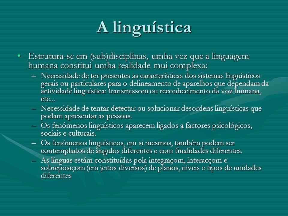 A linguística As disciplinas linguísticas:As disciplinas linguísticas: –Nucleares ou internas: ocupam-se do estudo dos fenómenos linguísticos em si mesmos: sons, estruturas, sentido...