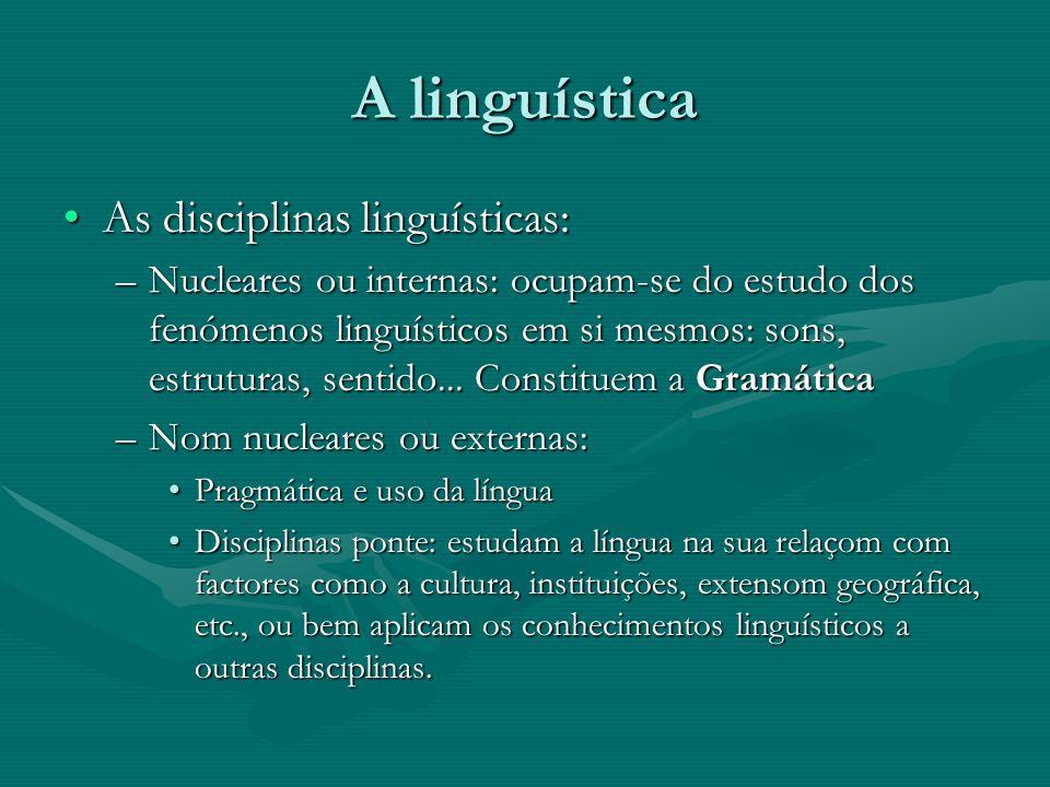 A linguística As disciplinas linguísticas:As disciplinas linguísticas: –Nucleares ou internas: ocupam-se do estudo dos fenómenos linguísticos em si me